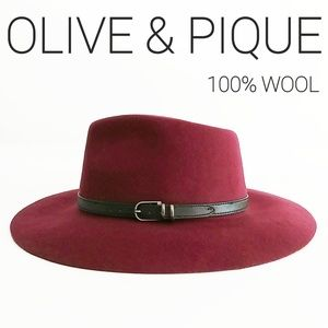 Olive & Pique Wool Raspberry Color Boho Panama Hat